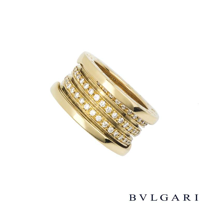 Bvlgari 18k Yellow Gold Diamond Set B.zero1 Ring